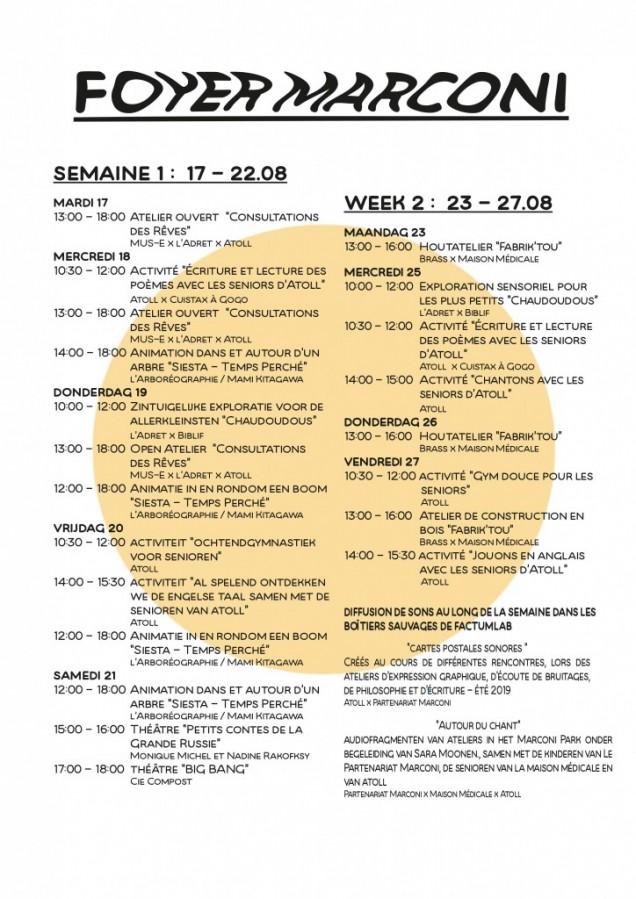 Foyer Marconi WEEK 2 : programma 23.08 - 27.08